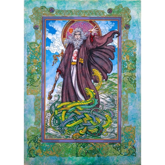 """St. Patrick's Day Irish Art Print 8x11""""of the real St. Patrick. Made in Ireland. Celtic designs, Green snakes, blue skys."""