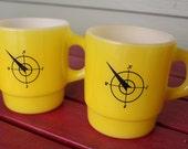 Yellow/Compass Fireking set of Mugs (2)