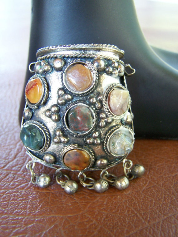 Vintage Silver Metal Stone Jeweled Dangle Bell Snuff Hinged Pendant
