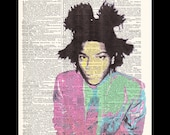 Jean-Michel Basquiat - Hand painted Mixed Media Dictionary Print upcycled art 8x11