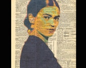 Young Frida Kahlo - Hand painted Mixed Media Art Dictionary Print upcycled art 8x11