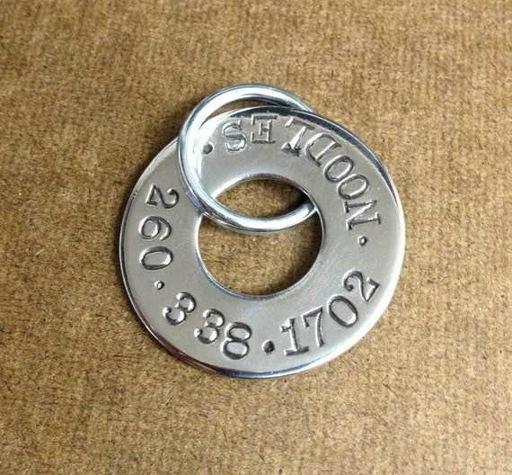"""Hand Stamped Dog Tags - Made to Order - 1-1/4"""" Polished Stainless Steel Flat - Medium or Large"""
