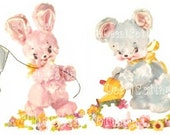 LAMB BUNNy BEAR NURSERy DECALS waterslide transfers SHaBBY vintage CHiC COTTaGE