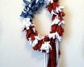 Fourth of July Wreath- Patriotic Rag Wreath