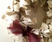 Beige Fabric Wreath-Rags to Beauty Wreath-Cream Wreath with Purple Rag Bow