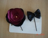 Bobby Pin Duo, Beautiful Satin Flower and Bow duo, Great for special events-Satin Black Bow.