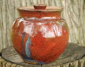 Decorative Stoneware Lidded Jar - Rich Red Glaze