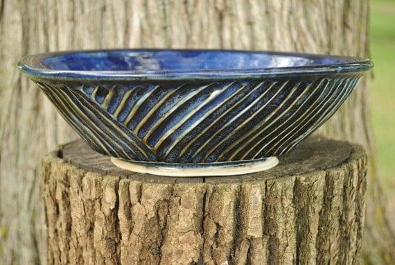 Medium Porcelain Serving Bowl with Diagonal Fluting - Blue/Violet Glaze