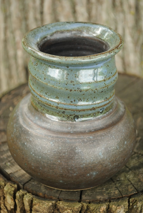 Small Wheel Thrown Stoneware Vase with Spiral Neck - Teal and Black Glaze