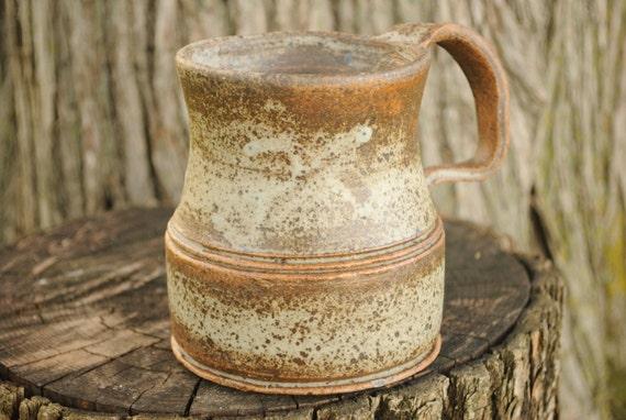 Wheel Thrown Coffee Mug with Twisty Handle - Mac Grey Glaze