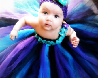 The Peacock Pearl- Peacock Inspired Tutu Dress with Flower and  Pearl Accents