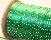 """Custom listing for Carol-Green and White polka dot Ribbon about  1/8""""- 8 yards"""