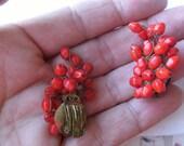 vintage earrings fifties earrings cherries cherry red