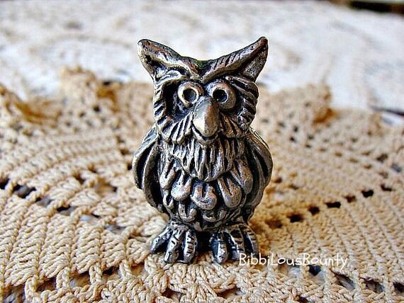 Vintage Miniature Owl Pewter