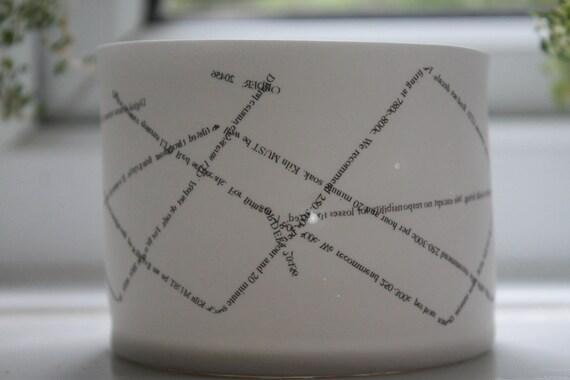 Round English fine bone china tea light  holder with text
