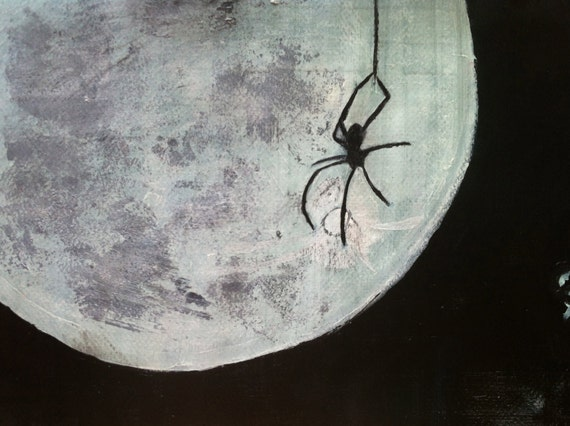 Original Painting - Spider by Moonlight