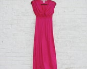 1980s Jill Andrea of New York Magenta Nightgown