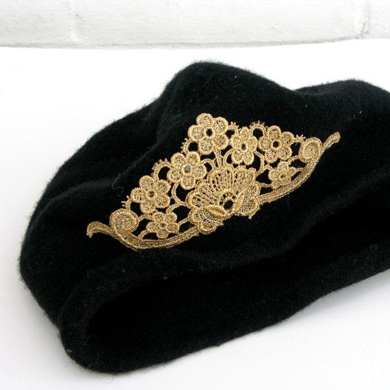 Vintage Black Felt Beret with Gold Lace Applique