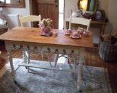 Victorian / Antique / Shabby Chic Farmhouse Table & 2 Chairs on original castors
