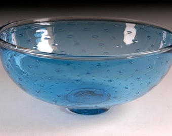 Crescent Bubble Bowl Aquamarine