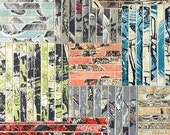 Abstract contemporary collage repurposed book paper