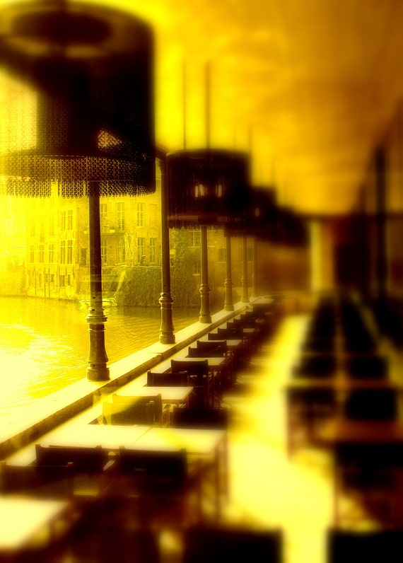 Yellow Gold Dream Photography Picture Print Happy Home Decor Ghent Canal Cafe II