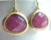 CLEARANCE SALE Plum Eggplant  Grape Purple Opaque Faceted Gold Bezel Dangle Earrings. Modern Everyday Jewelry For Her.