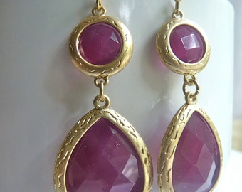 CLEARANCE SALE Plum Eggplant Grape Faceted Gold Bezel Teardrop Dangle Earrings. Modern Everyday Jewelry For Her.60