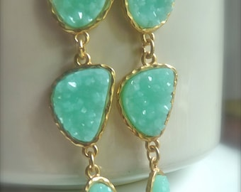 Druzy Drusy Aqua Seafoam Mint Green Sparkly  Long Dangly Three Charm Earrings. Bridesmaids Gifts For Her. 2