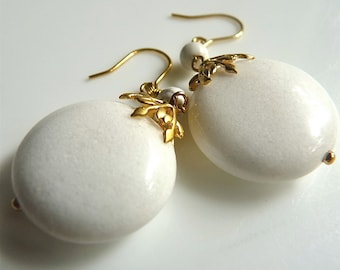 White Snowflake Snow white Round Winter White Dangle  Jewel  Gold Filigree Earrings. Jewelry Gifts For Her  101
