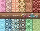 Simple Patterns Set Digital paper: 12 Digital Backgrounds - Stars and Circles - Multicolored (Pink, Blue, Green, Burgundy, Brown)