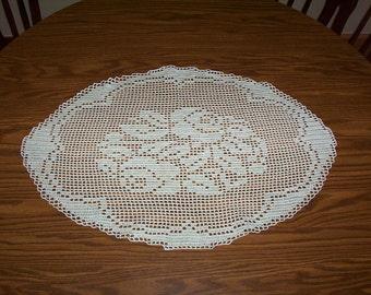 "9)  ""OVAL ROSE""  handmade crochet doilies"