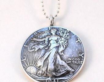 1941 Walking Liberty Silver Half Dollar Coin Pendant Necklace