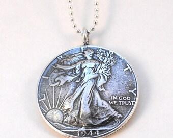 1944 Walking Liberty Silver Half Dollar Coin Pendant Necklace