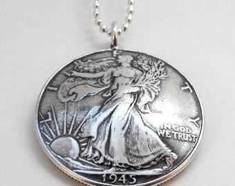 1945 Walking Liberty Silver Half Dollar Coin Pendant Necklace