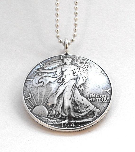 1942 Walking Liberty Silver Half Dollar Coin Pendant Necklace