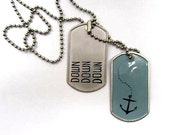 Anchor Dog Tag - Oil-painted Men's Jewelry - Steel Blue, Black and Silver with Ball Chain