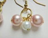Pink and White Glass Pearl Gold Cluster Earrings, 3 pearl cluster, 2 colors, rosy trinkets