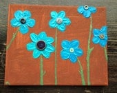 8x10 Button Flowers. Free Shipping