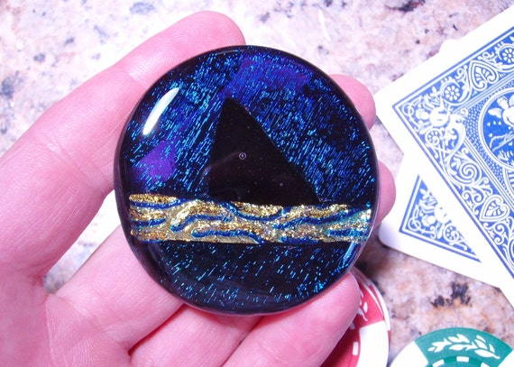 Shark Fin Fused Glass Card Marker/Guard