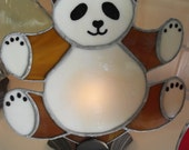 PANDA BEAR FAN Lamps  with a base. Stained glass fan lamp brown and white bear