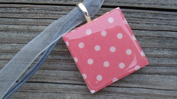 Pink with Tan Dots Pendant Necklace