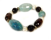 Blue Cracked Agate, Red Botswana Agate, Black Tourmaline, Freshwater White Pearl and Pyrite Bracelet