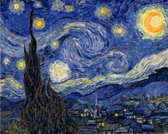 Cross stitch pattern of Van Gogh - Starry Night