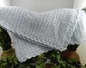Blue Hand Crocheted Baby Blanket, Beautiful for  Summer & Fall Weather