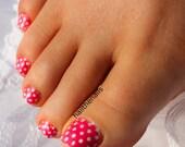 Pink Polka Dot Nail Art Water Transfer Decal Y421