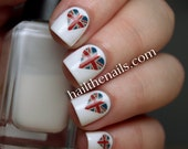 Union Jack Heart Nail Art Water Transfer Decal Y711