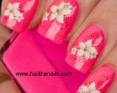 English White Lily Nail Art Water Transfer Decal 104Y