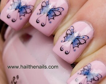 Blue Butterfly Nail Art  Water Transfers/Decals Y004