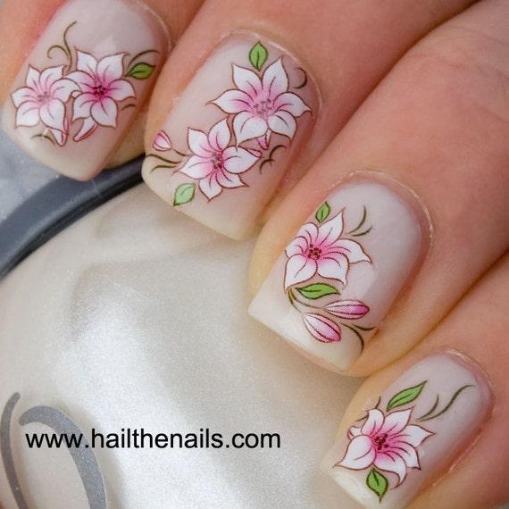 Pink & White Lotus Flower Nail Art Water Transfer Decal Wedding Nails Y101